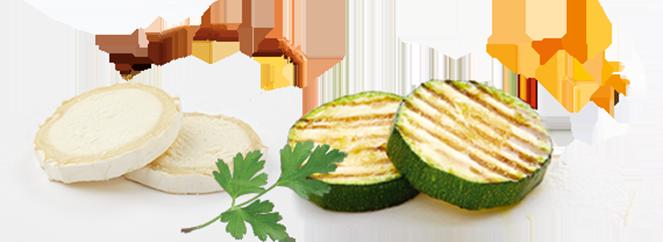 Rondelles de chèvre, persil et courgettes grillées