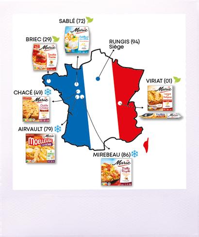 Sites de production et siège Marie 100% France
