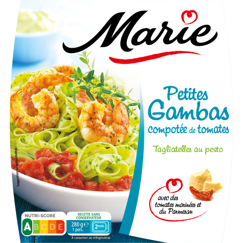 Petites gambas compotée de tomates Marie