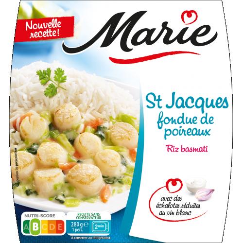 Saint jacques fondue de poireaux Marie